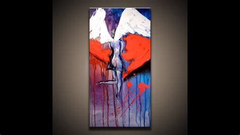 """Creative Acrylic Painting Techniques on Canvas """"Angel and"""