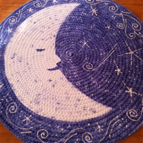 Moon and stars braided rug from USA organic cotton   aftcra