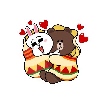 Brown and cony winter romance stickers for social media