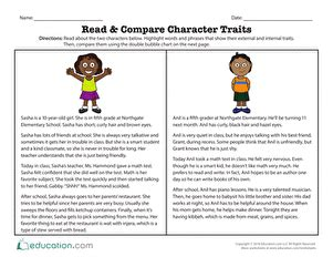 Read & Compare Character Traits   Character trait