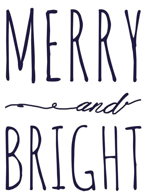 Merry and Bright free Printable Template   Christmas