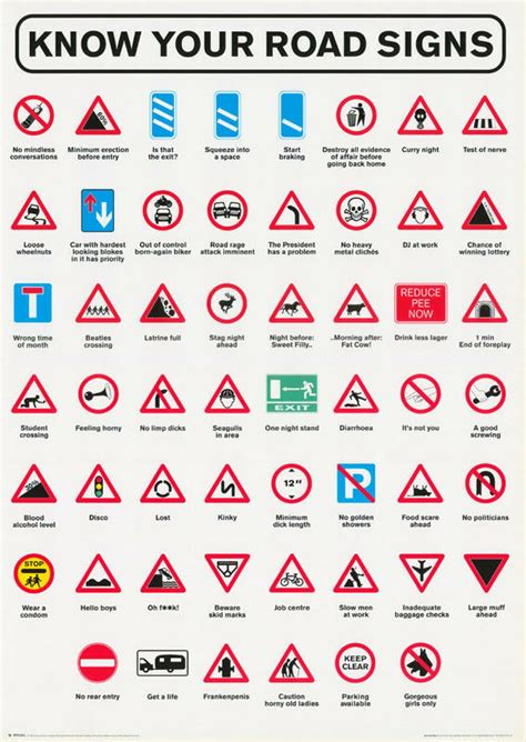 POSTER : COMICAL : KNOW YOUR ROAD SIGNS - FREE SHIPPING