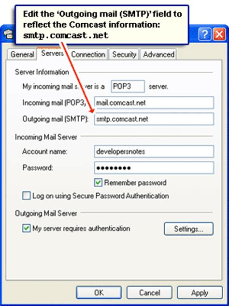 Change outgoing mail server settings in email program