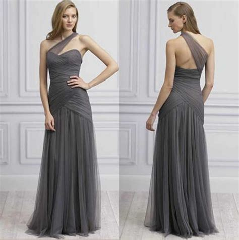 Grey One Shoulder Tulle A Line Floor Length Ruffled Long