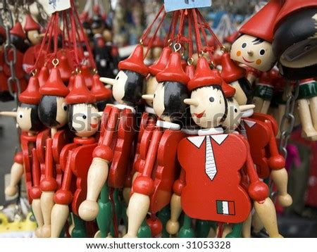 Souvenir From Italy - Bundle Of Pinocchio Puppets Stock