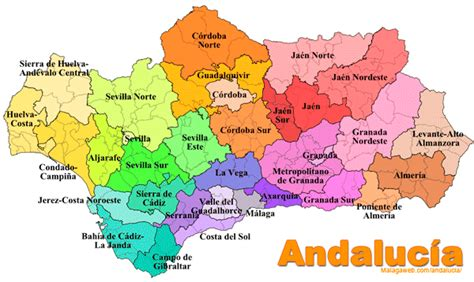 Map of Andalucia- Southern Spain - Tourist and road map