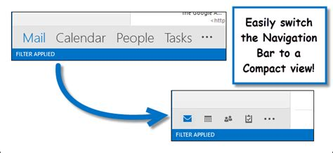 How to Make the Navigation Bar Compact in Outlook 2013