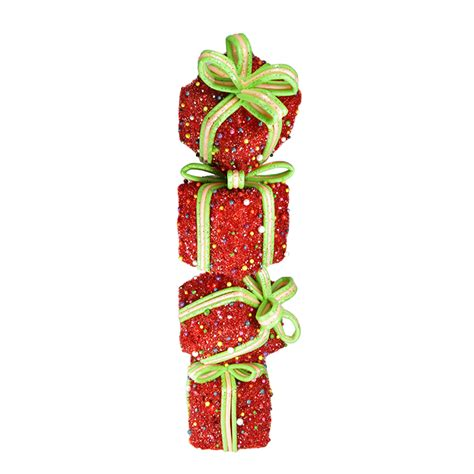 """34"""" Red and Green Lighted Candy Stacked Gift Boxes Tower"""